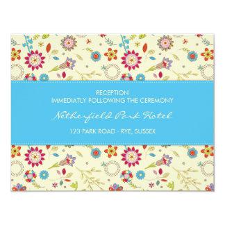 Retro Flowers · Turquoise · Reception Invitation