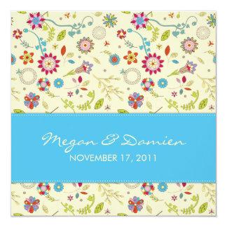 Retro Flowers · Turquoise · Wedding Invitation