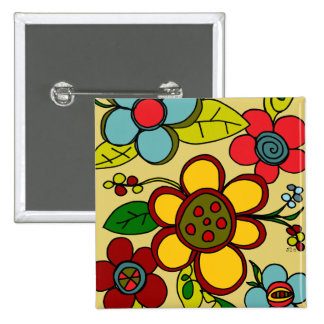 Retro Flowers Urban Colors Pin