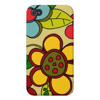 Retro Flowers Urban Colors iPhone 4 Case