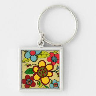Retro Flowers Urban Colors Key Chain