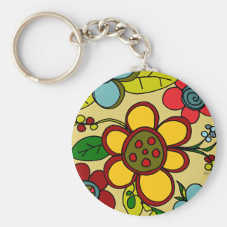 Retro Flowers Urban Colors Key Chains