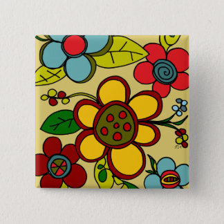 Retro Flowers Urban Colors Pinback Button