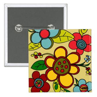 Retro Flowers Urban Colors Pinback Button