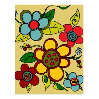 Retro Flowers Urban Colors Postcard