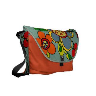 Retro Flowers Urban Colors- Robin s Egg Blue Courier Bag
