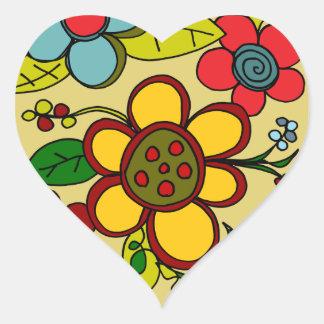 Retro Flowers Urban Colors Sticker
