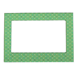 Retro Flowers Vintage Bandanna Lime Mint Green Magnetic Frame