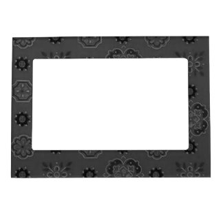 Retro Flowers Vintage Bandanna Slate Steel Coal Magnetic Picture Frame