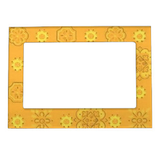 Retro Flowers Vintage Bandanna Yellow Gold Magnetic Picture Frame