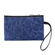 Retro Flowers Vintage Floral Sapphire Denim Blue Change Purse