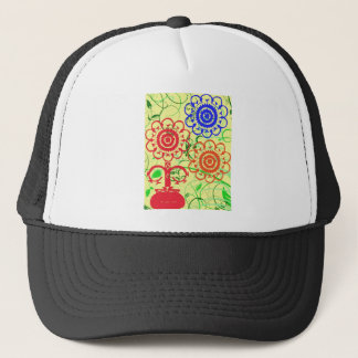 Retro Flowers with Swirls Trucker Hat