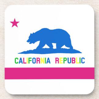 Retro Fluorescent Colors California Flag Beverage Coaster