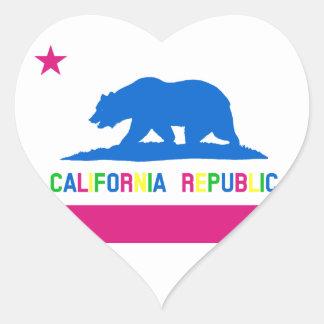 Retro Fluorescent Colors California Flag Heart Sticker