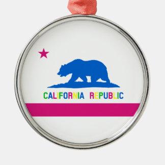 Retro Fluorescent Colors California Flag Metal Ornament