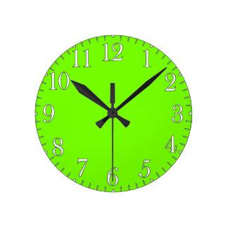 Retro Fluoro Lime-Green Collection Round Wallclock