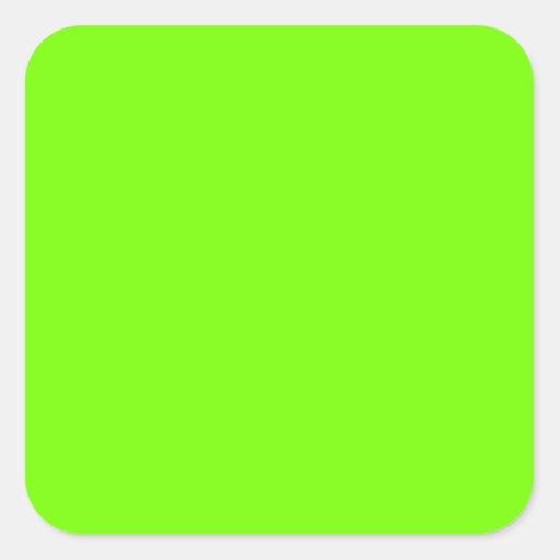 Retro Fluoro Lime-Green Collection Square Stickers