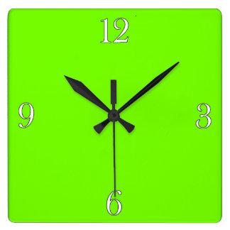Retro Fluoro Lime-Green Collection Square Wall Clocks