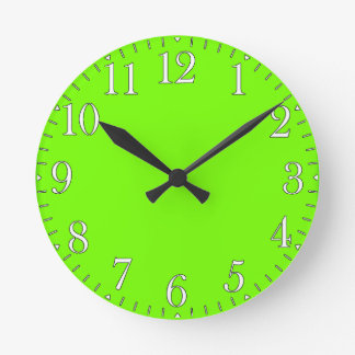 Retro Fluoro Lime-Green Time Piece Round Clock