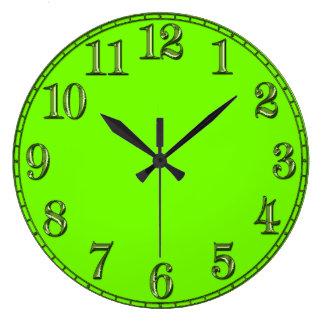 Retro Fluoro Lime-Green Time Piece Wallclock