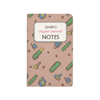 Retro Flying Clips Pattern Custom Text Label Journal