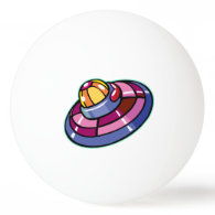 Retro Flying Saucer Ping Pong Ball