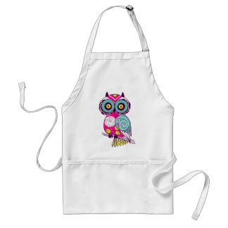 Retro Folk Art Owl Adult Apron