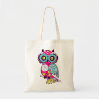 Retro Folk Art Owl Canvas Bag