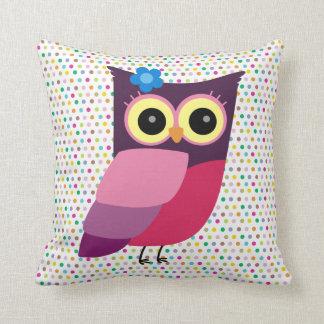 Retro Folk Art Owl on Colorful Background Pillows