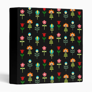Retro folk floral pattern 3 ring binder