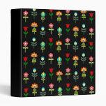 Retro folk floral pattern binder
