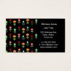 Retro folk floral pattern business card