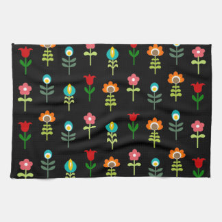 Retro folk floral pattern hand towels