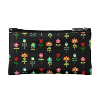 Retro folk floral pattern makeup bag