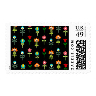 Retro folk floral pattern postage stamps