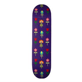 Retro folk floral pattern custom skateboard