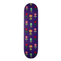 Retro folk floral pattern skateboard deck