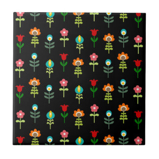 Retro folk floral pattern tile