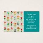 Retro folk flower pattern business card