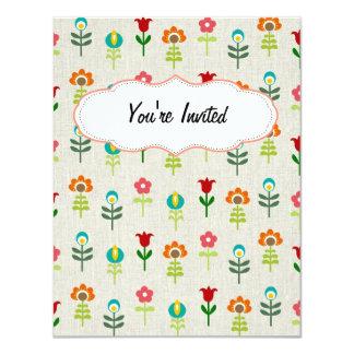 Retro folk flower pattern card