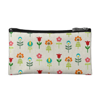 Retro folk flower pattern cosmetic bag