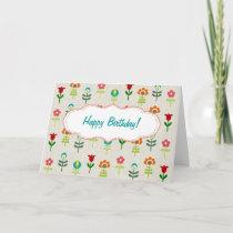 Retro folk flower pattern Happy Birthday Card