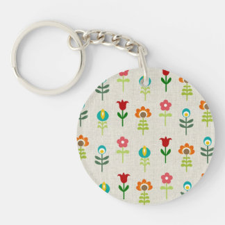 Retro folk flower pattern keychain