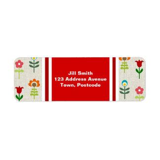 Retro folk flower pattern label