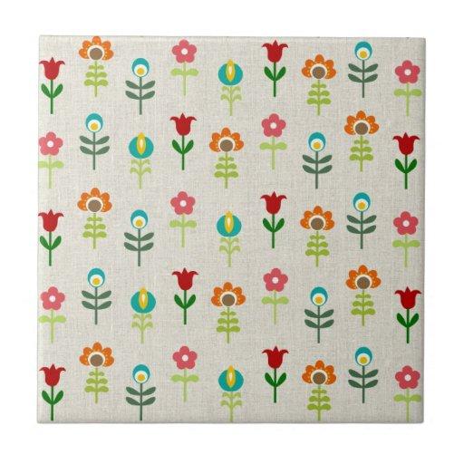 Retro folk flower pattern ceramic tile
