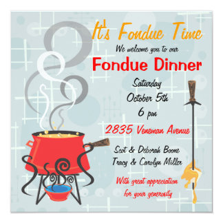 Retro Fondue Party Invitation