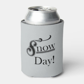 Retro Font Inspired Grey and Black Snow Day Can Cooler