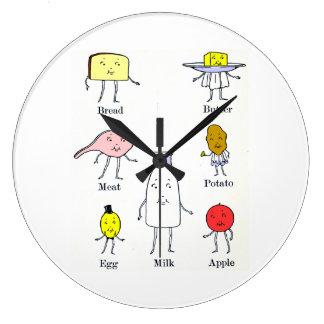 Retro Food Groups Kitchen Wall Clock