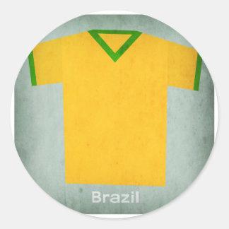 Retro Football Jersey Brazil Classic Round Sticker