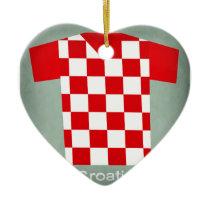 Retro Football Jersey Croatia Ceramic Ornament
